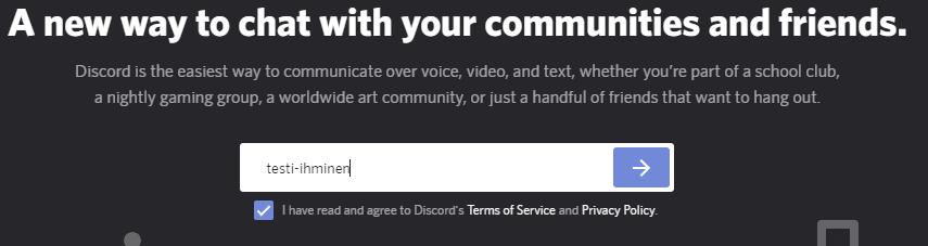 Kuva Discordista: lisää käyttäjänimi